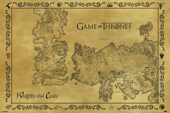 game of thrones antique style map maxi poster.  westeros and essos